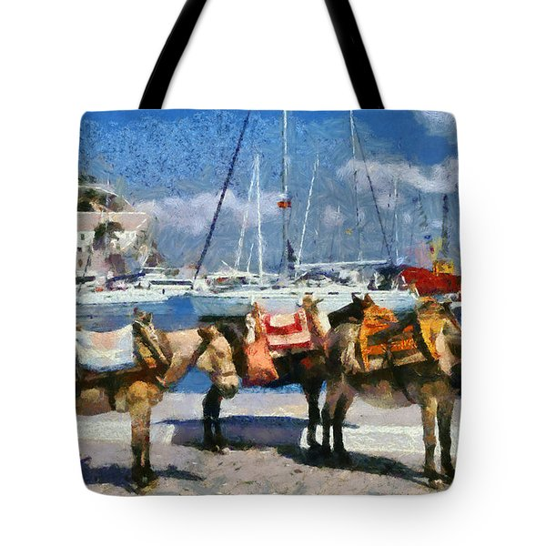 Donkeys Waiting For A Ride Tote Bag
