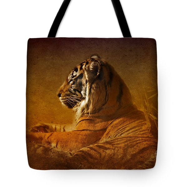 Don't Wake A Sleeping Tiger Tote Bag by Betty LaRue