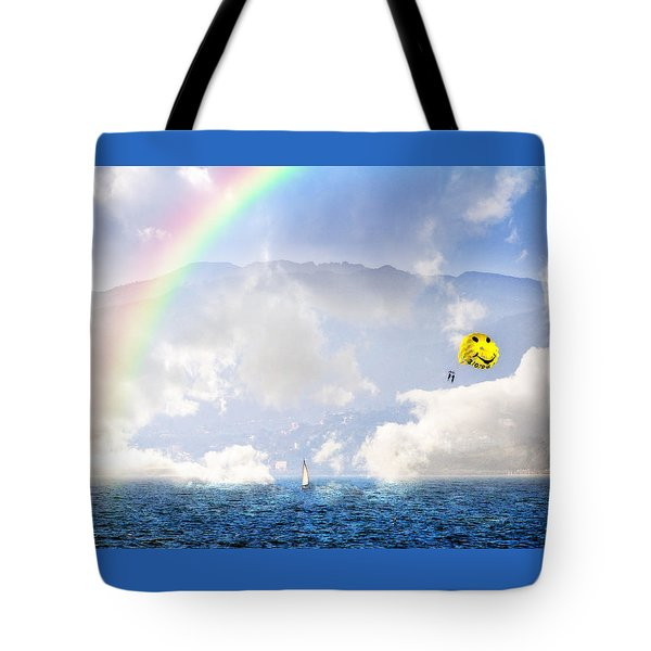 Dont Worry Be Happy Tote Bag by Lynn Bauer