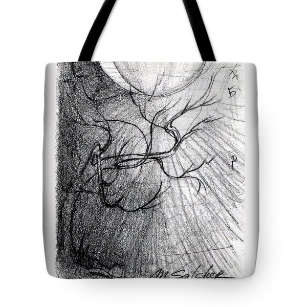 Tote Bag featuring the drawing Doom Moon  by Mikhail Savchenko