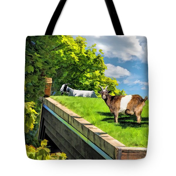 Door County Al Johnsons Swedish Restaurant Goats Tote Bag by Christopher Arndt