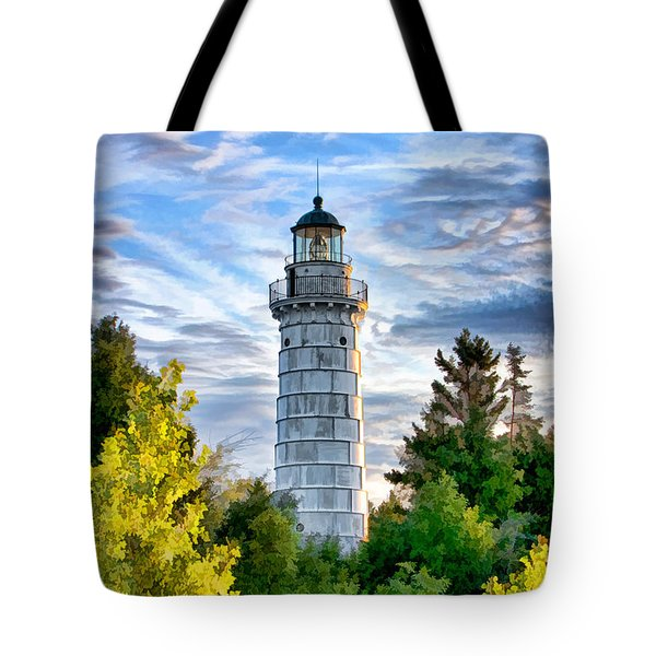 Door County Cana Island Beacon Tote Bag by Christopher Arndt