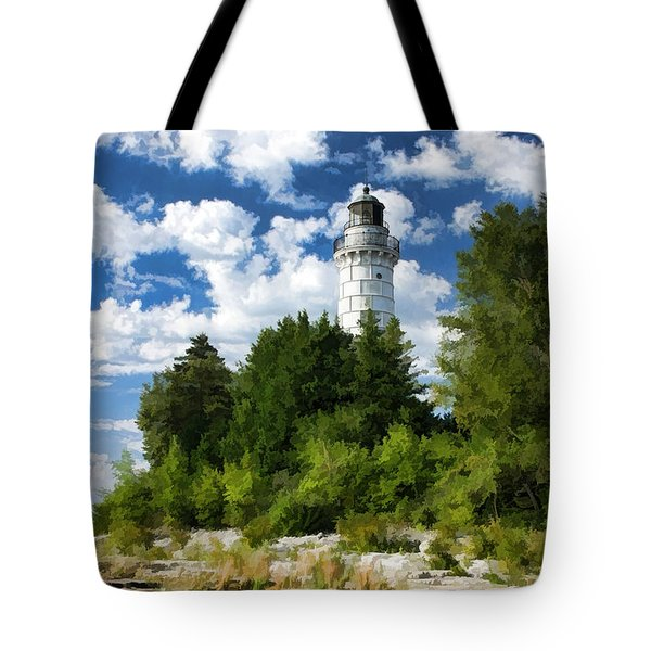 Cana Island Lighthouse Cloudscape In Door County Tote Bag by Christopher Arndt