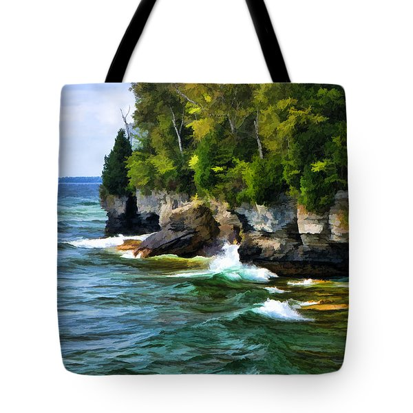 Door County Cave Point Cliffs Tote Bag