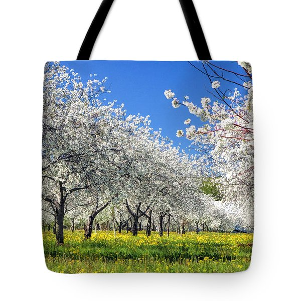 Door County Cherry Blossoms Tote Bag