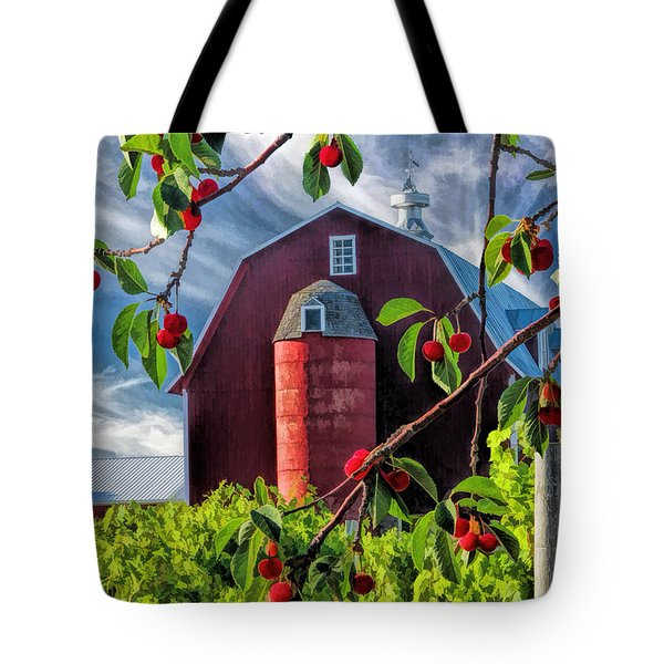 Door County Cherry Harvest Red Barn Tote Bag