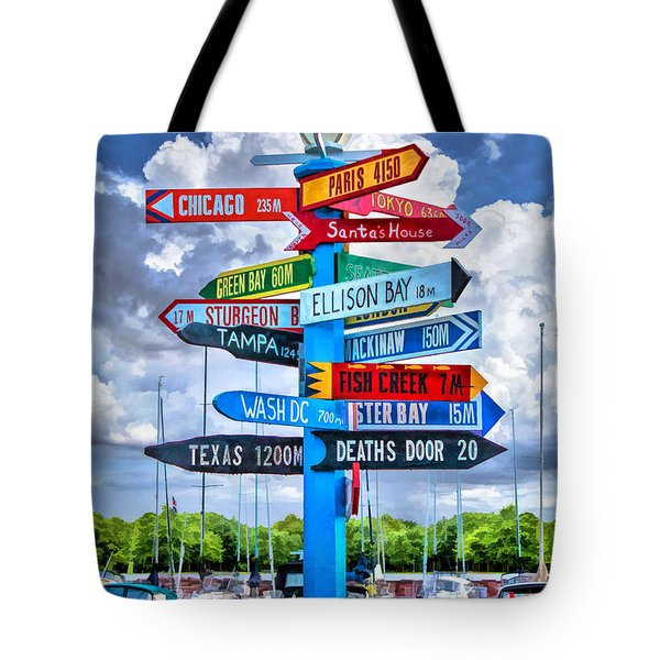 Door County Directional Sign In Egg Harbor Tote Bag by Christopher Arndt