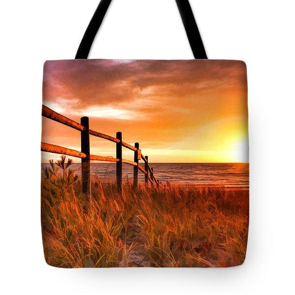 Door County Europe Bay Fence Sunrise Tote Bag