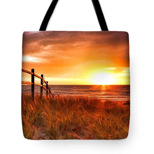 Door County Europe Bay Fence Sunrise Tote Bag by Christopher Arndt