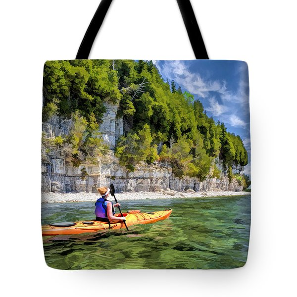 Door County Kayaking Around Rock Island State Park Tote Bag
