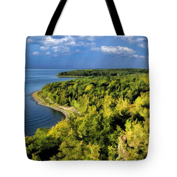Door County Peninsula State Park Svens Bluff Overlook Tote Bag by Christopher Arndt
