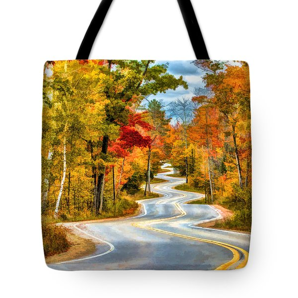 Door County Road To Northport In Autumn Tote Bag by Christopher Arndt