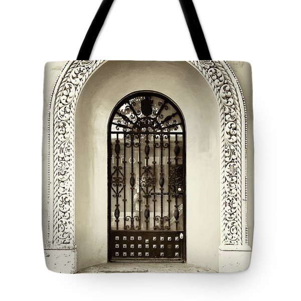 Door With Decorated Arch Tote Bag