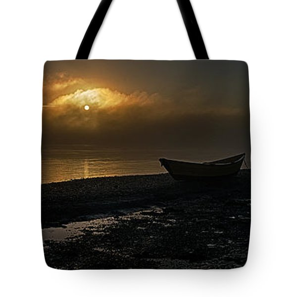 Tote Bag featuring the photograph Dories Beached In Lifting Fog by Marty Saccone