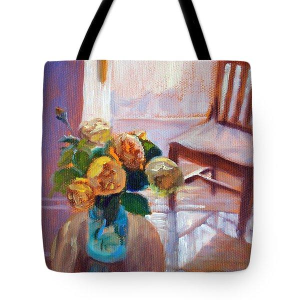 Dormer Light- Morning Light And Roses Tote Bag
