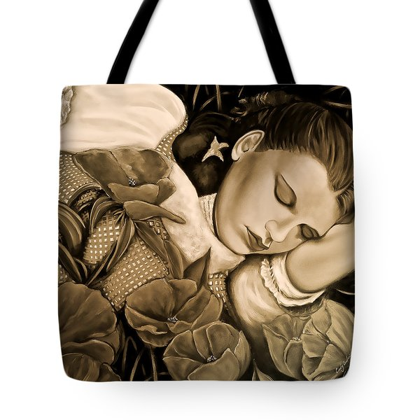 Tote Bag featuring the painting Dorothy's Sleep Sepia by Cindy Anderson
