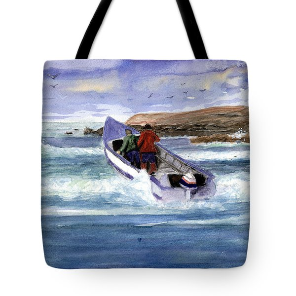 Dory Boat Heading To Sea Tote Bag