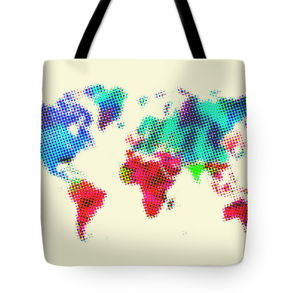 Dotted World Map 2 Tote Bag by Naxart Studio
