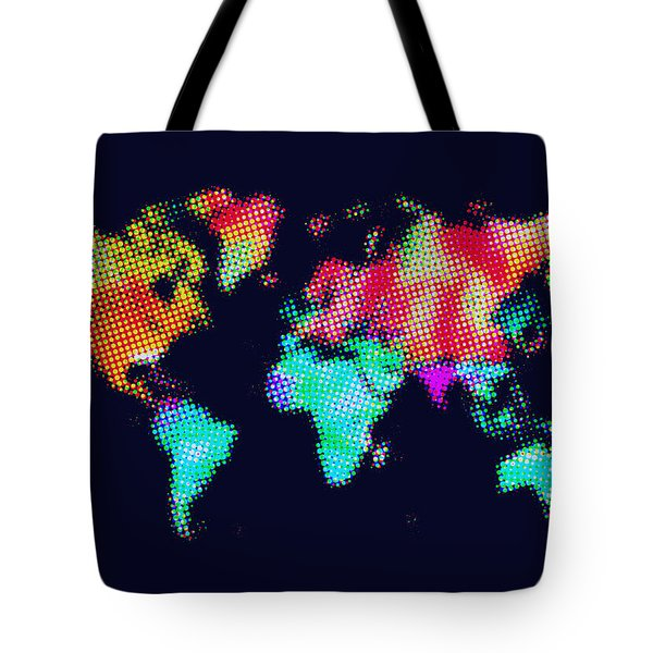 Dotted World Map 3 Tote Bag by Naxart Studio