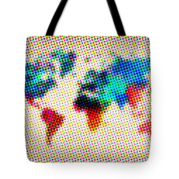 Dotted World Map Tote Bag by Naxart Studio