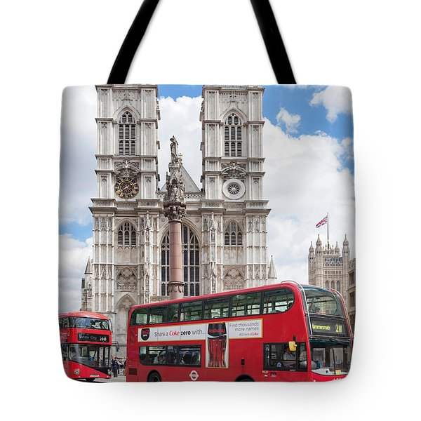Double-decker Buses Passing Tote Bag