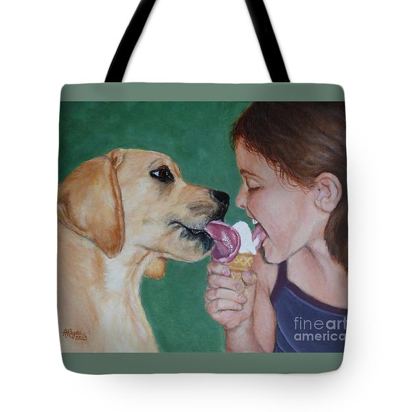 Double Dip - Ice Cream For Two Tote Bag by Amy Reges