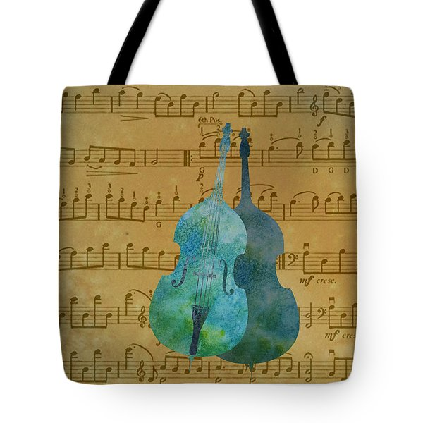 Double Double Bass On Score Tote Bag