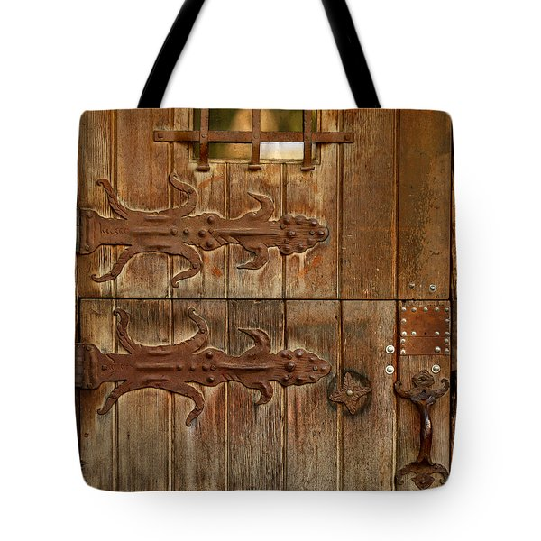 Tote Bag featuring the photograph Double Hinges by Art Block Collections