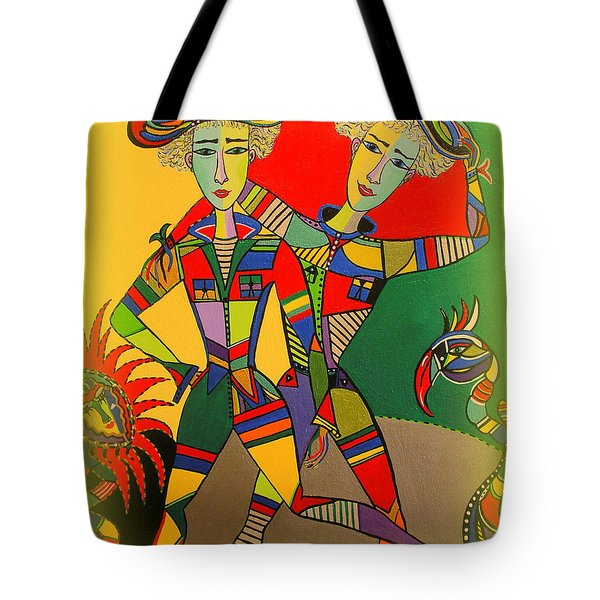Tote Bag featuring the painting Let's Go Brother by Marie Schwarzer