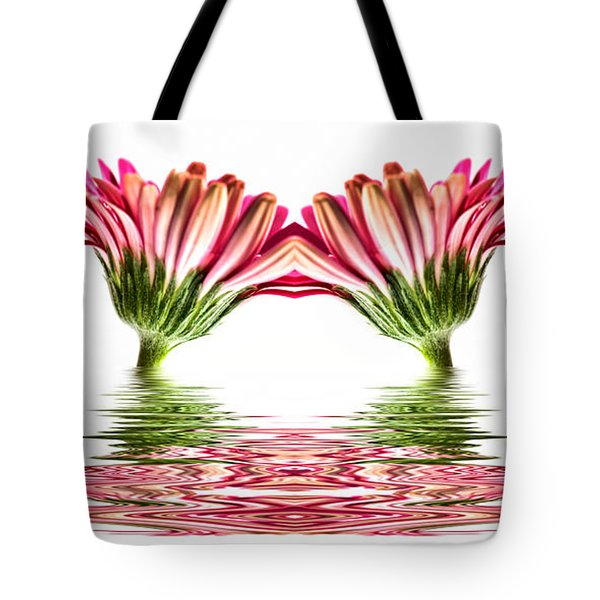 Double Pink Gerbera Flood Tote Bag by Steve Purnell