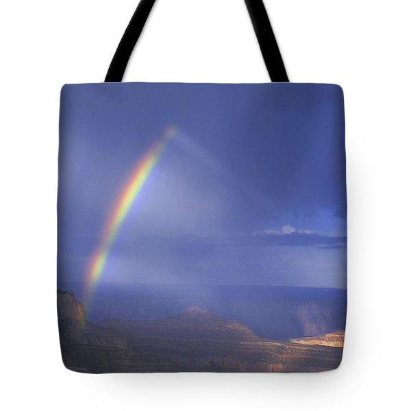 Tote Bag featuring the photograph Double Rainbow At Cape Royal Grand Canyon National Park by Dave Welling