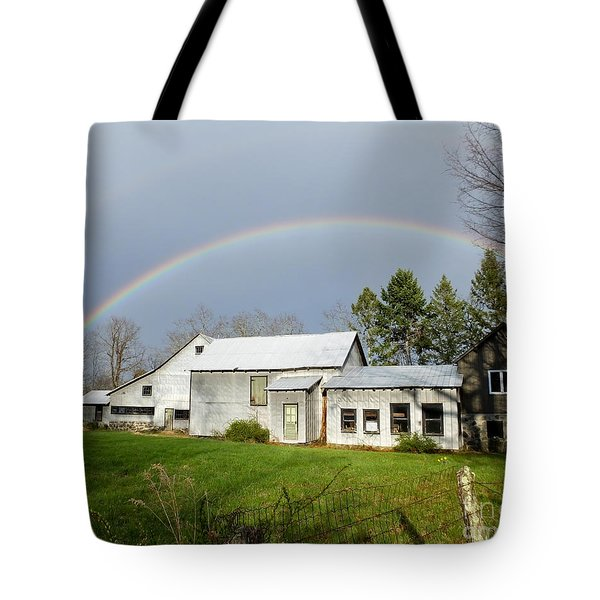 Tote Bag featuring the photograph Double Rainbow Over Barn by Kristen Fox