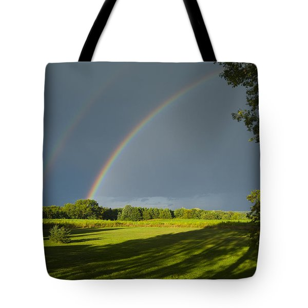 Double Rainbow Over Fields Tote Bag