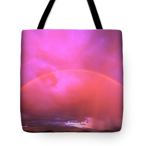 Double Rainbow Over Mount Shasta Tote Bag by Dave Welling
