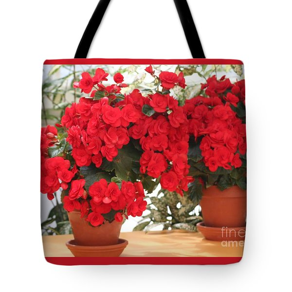 Tote Bag featuring the photograph Double Red Begonias by Mary Lou Chmura