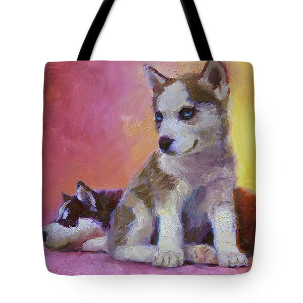 Double Trouble - Alaskan Husky Sled Dog Puppies Tote Bag