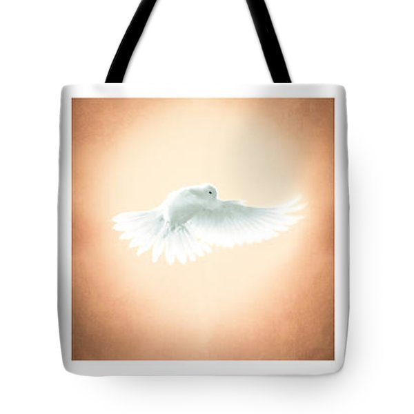 Dove In Flight Triptych Tote Bag