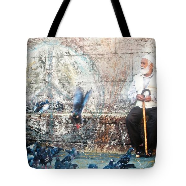 Tote Bag featuring the photograph Doves Of Istanbul by Lesley Fletcher