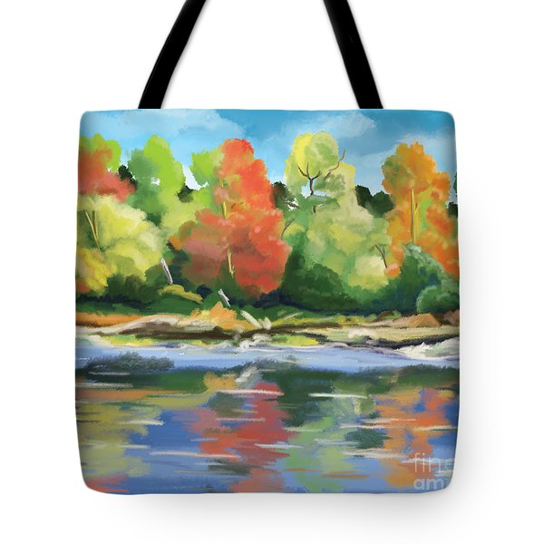 Tote Bag featuring the painting Down By The River by Tim Gilliland