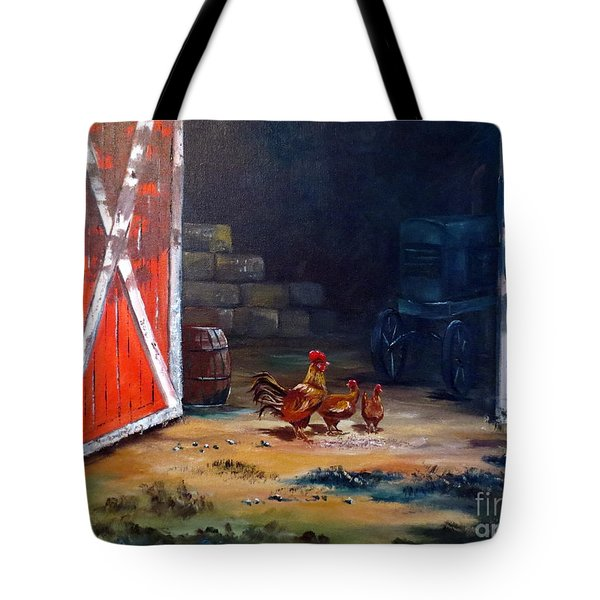 Tote Bag featuring the painting Down On The Farm by Lee Piper