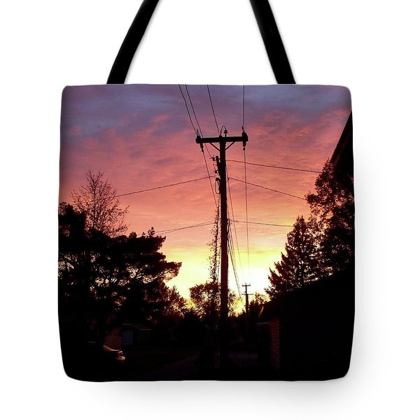 Down The Alley Sunrise Tote Bag by Thomas Woolworth