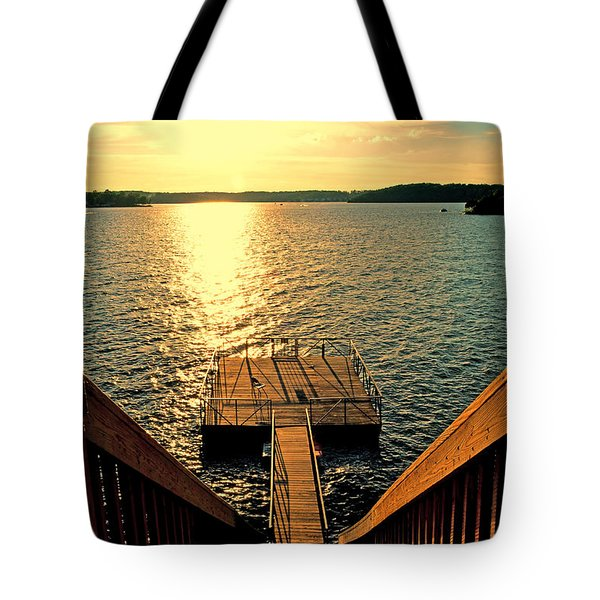 Down To The Fishing Dock - Lake Of The Ozarks Mo Tote Bag by Debbie Portwood