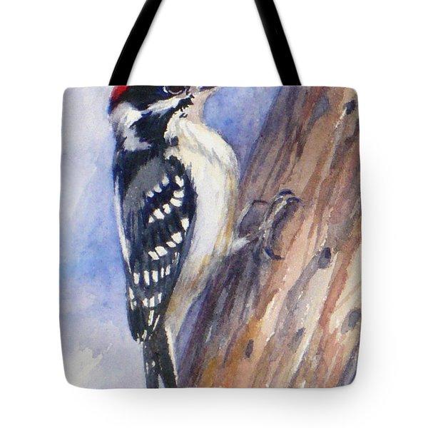 Downey Woodpecker Tote Bag
