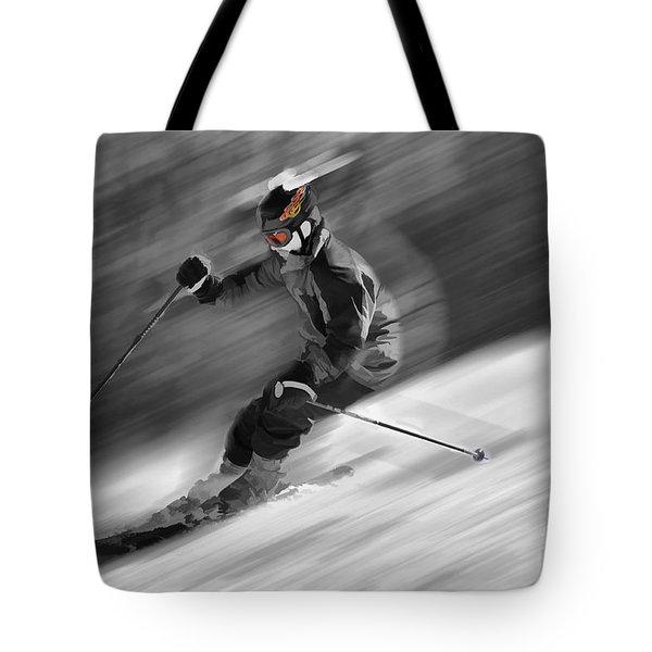 Downhill Skier  Tote Bag by Dan Friend