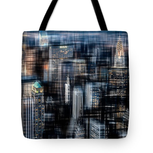 Downtown At Night Tote Bag by Hannes Cmarits