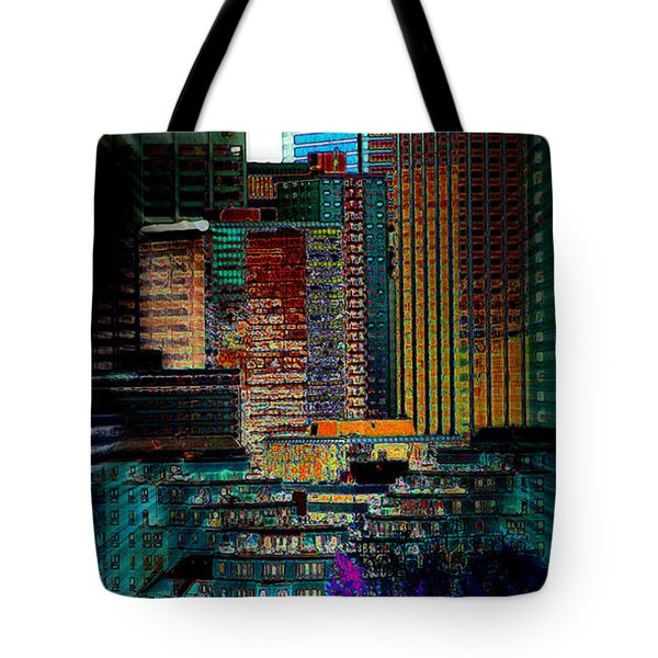 Tote Bag featuring the digital art Downtown Chaos by Stuart Turnbull