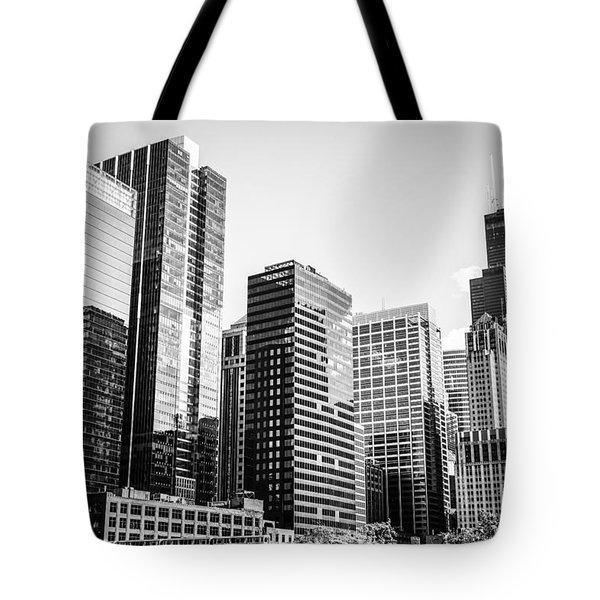 Downtown Chicago Buildings In Black And White Tote Bag by Paul Velgos