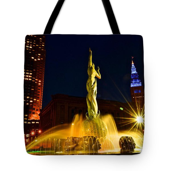 Downtown Cleveland Tote Bag by Frozen in Time Fine Art Photography