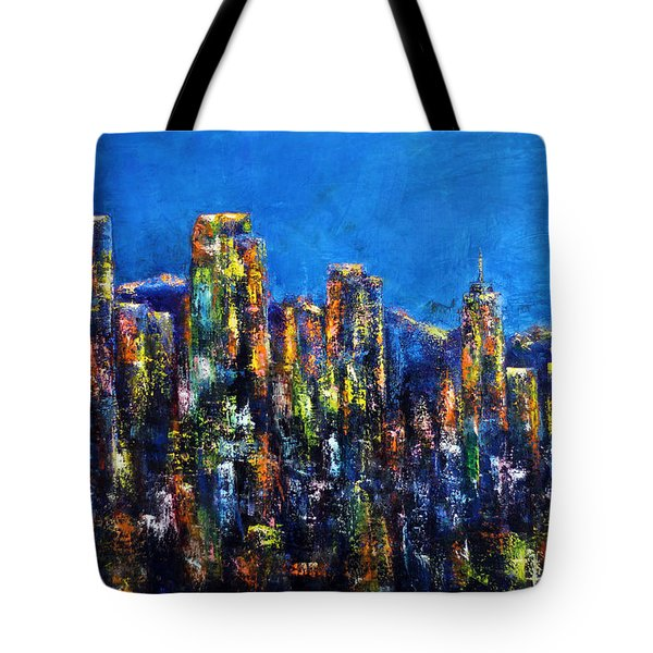 Downtown Denver Night Lights Tote Bag by Jennifer Godshalk
