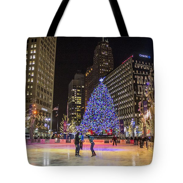 Downtown Detroit Ice Rink  Tote Bag